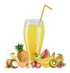Fruit drink in glasses vector image