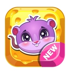 Funny app icon with cute mouse vector image