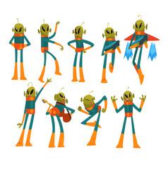 Funny green alien set humanoid cartoon character vector