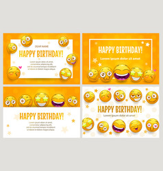 Funny posters template set birthday greeting vector