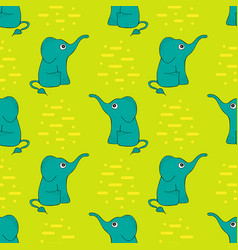 funny seamless pattern with cute elephants vector image