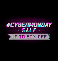 glitch cyber monday sale web banner vector image