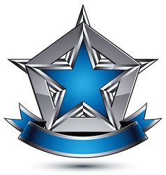 Glorious glossy design element luxury blue 3d star vector