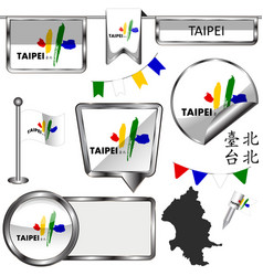 Glossy icons with flag of taipei taiwan vector