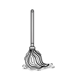 Grayscale mop sweep object to clean the house vector
