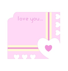 Greeting card with hearts cutting out along the vector