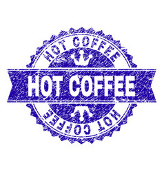 grunge textured hot coffee stamp seal with ribbon vector image