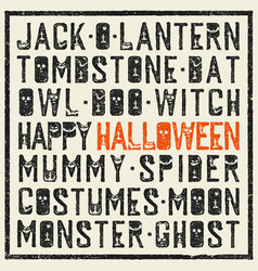 halloween words decorative poster grunge stamp vector image