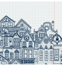 Hand-drawn old town vector