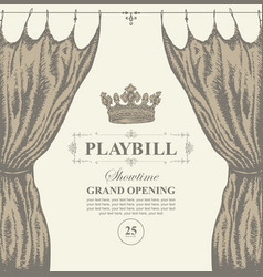 hand-drawn playbill with theater curtain and crown vector image