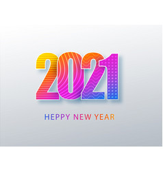 happy 2021 new year colour banner in paper style vector image