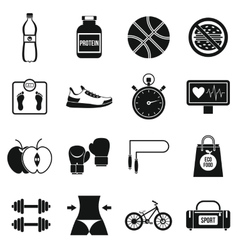 Healthy life icons set simple style vector