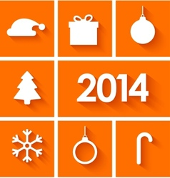 Icons set of new year 2014 on orange background vector
