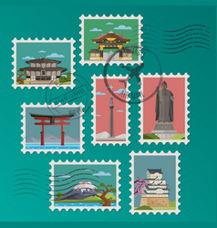Japanese postage stamps and postmarks vector