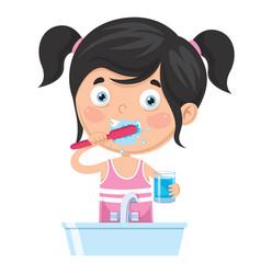 Kid brushing teeth vector