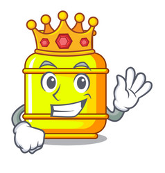 King gas tank cylinder isolated on mascot vector