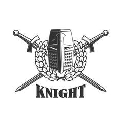 knight helmet with crossed swords design element vector image