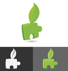 Leaf Green Jigsaw Icon Symbol vector