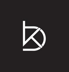Letter kb simple geometric line overlapping logo vector