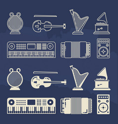 line and silhouette classic music instruments vector image