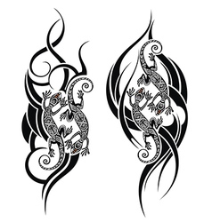 Lizard tattoo vector image