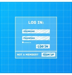 Login form on blueprint background vector