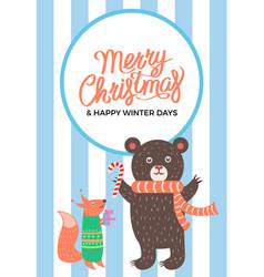 merry christma icon bear fox vector image