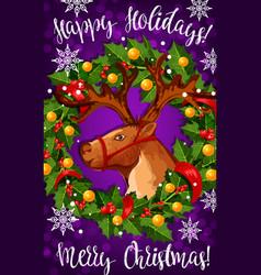 Merry christmas santa deer greeting card vector