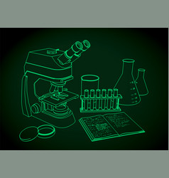 Microscope and laboratory equipments vector