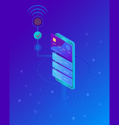 mobile payment concept smartphone with processing vector image