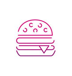 Neon silhouette hamburger fast food snack vector