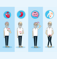 Old man with illness control diagnosis prevention vector