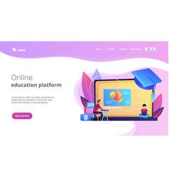 Online education platform concept landing page vector