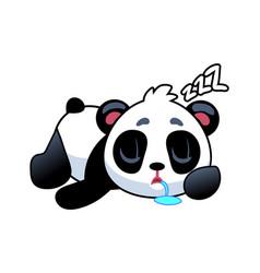 panda sleeping cute asian adorable bear lying vector image
