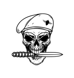 paratrooper skull with knife in teeth design vector image