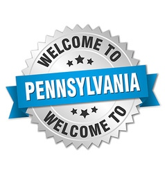Pennsylvania 3d silver badge with blue ribbon vector