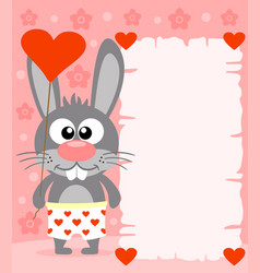 Pink valentines day background with funny rabbit vector