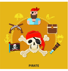 Pirate cartoon composition vector