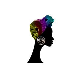Portrait afro women shenbolen ankara turban vector