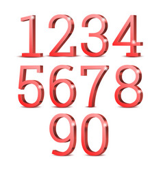 red 3d numbers vector image