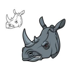 Rhino animal head mascot black rhinoceros vector