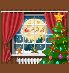 santa claus and his reindeer in window vector image