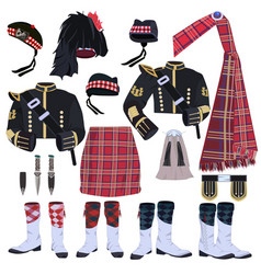 Scottish traditional clothing icon set vector
