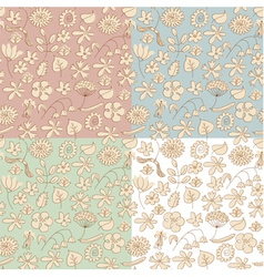 Seamless background made beige wildflowers vector