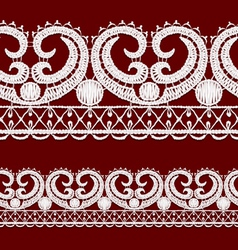 Seamless openwork lace border Realistic vector image