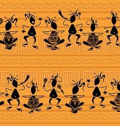 Seamless pattern tribal musicians vector