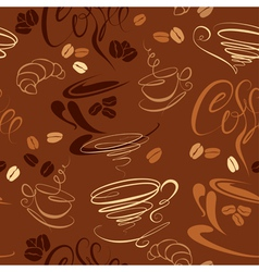 Seamless pattern with coffee cups beans croissant vector