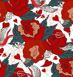 Seamless Vintage pattern with flowers vector image