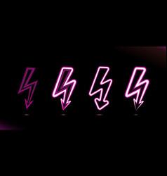 set flash lightnings pink glowing neon lamp icon vector image