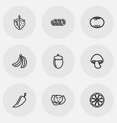 Set of 9 editable vegetable icons includes vector